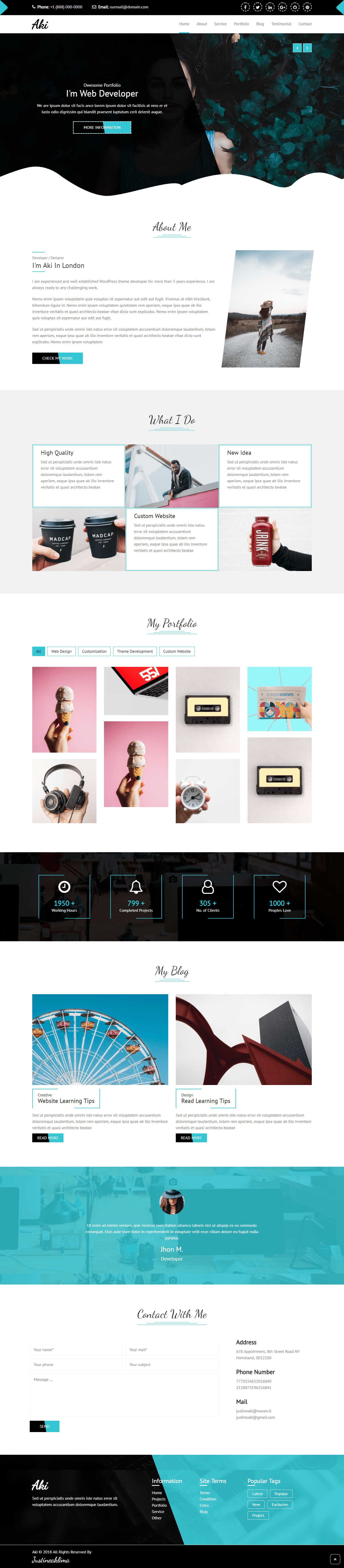 Aki - SEO Friendly One Page Portfolio HTML Theme for $15 - SEOClerks