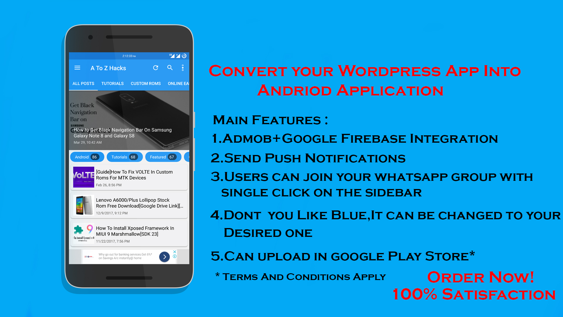 I Can Create A Android Application For Your WordPress Blog/Site for $10