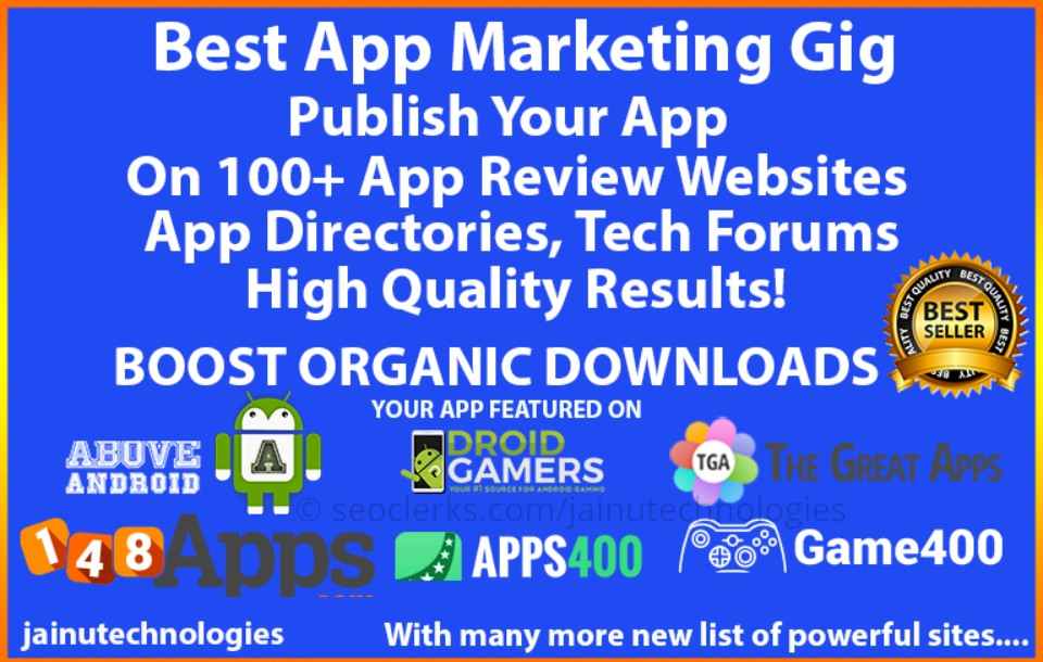 App Promotion, App Marketing With High Quality Backlinks For Your App Or  Game for $5