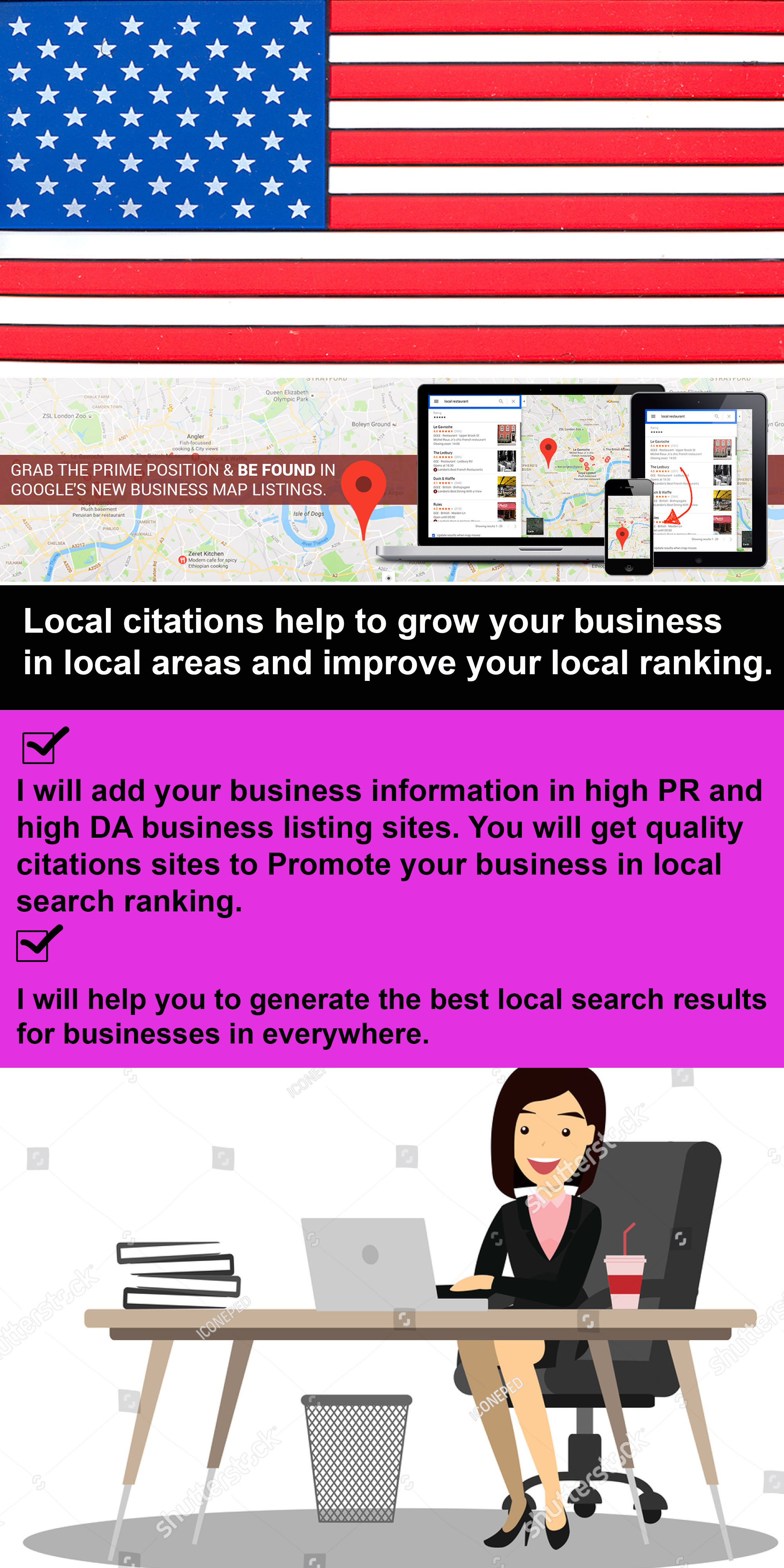 Submit your Business Details ON TOP 75 USA Google Map local Citations Sites  for $8