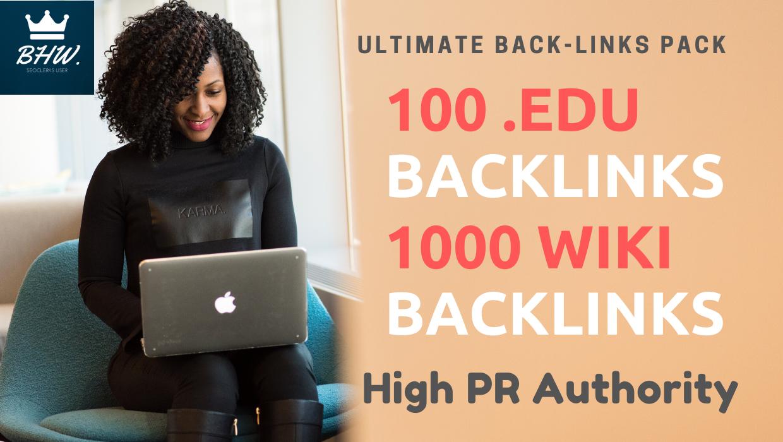 Ultimate 100. Edu and 1000 Wiki Backlinks Pack