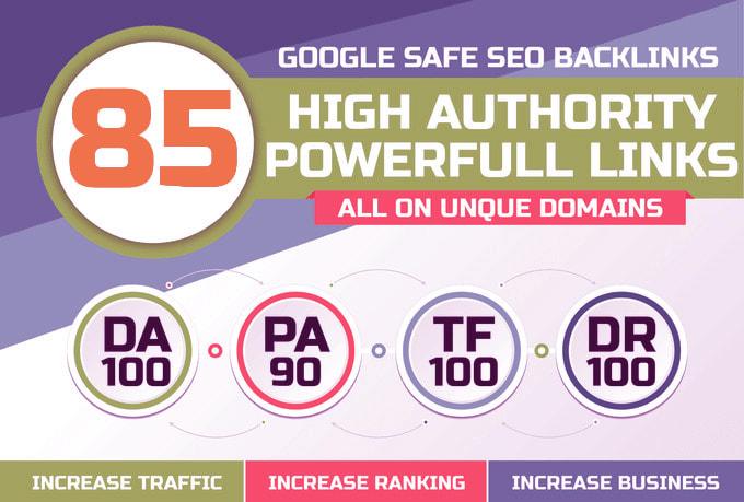 build 85 unique domain SEO backlinks on high tf and da sites