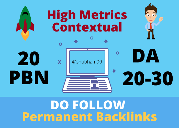 20 PBN DA 20-30 High Metrics Contextual Permanent Backlinks
