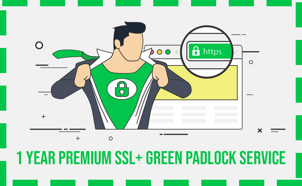 Installation of 1 Year Valid Premium SSL Certificate + Green Padlock Service