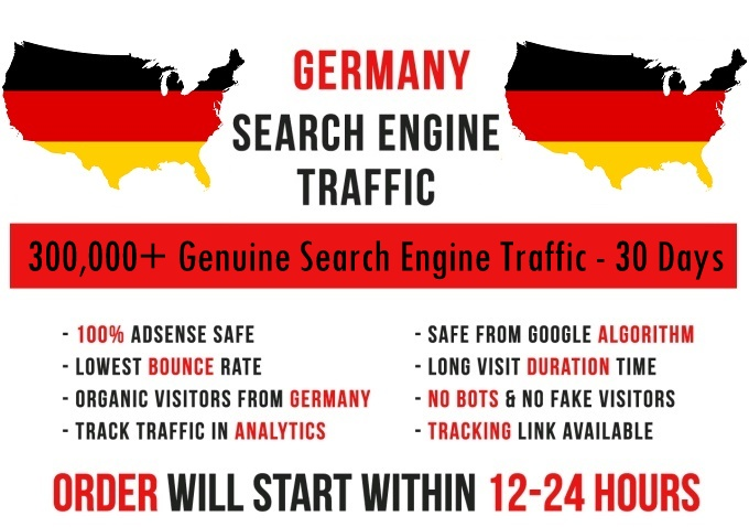 Send genuine 300k Germany based keyword targeted Search Engine traffic