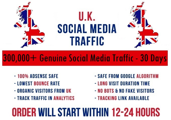 Send actual 5k-300k UK based Social Media traffic