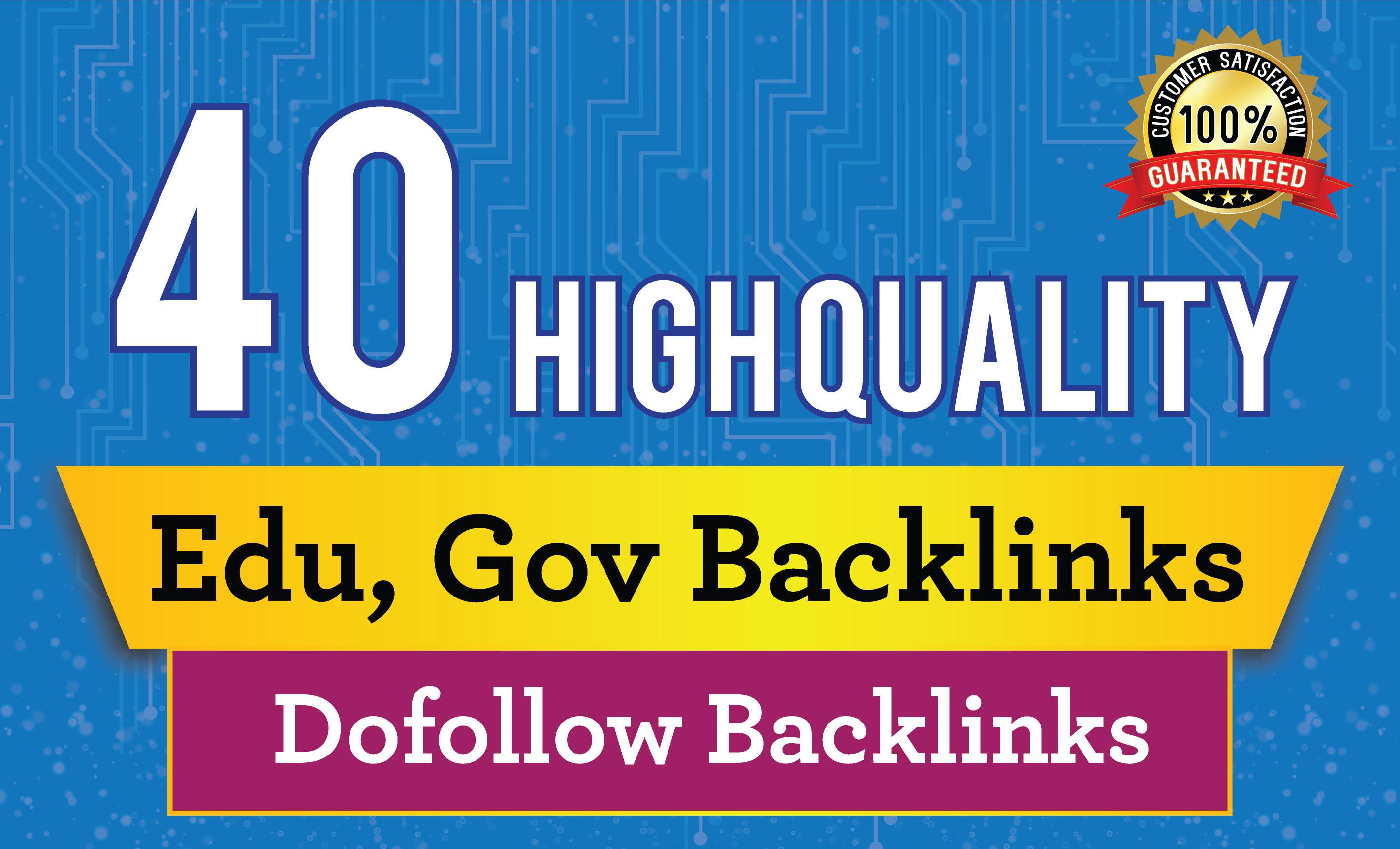 20-40 dofollow High quality Gov and edu. backlinks