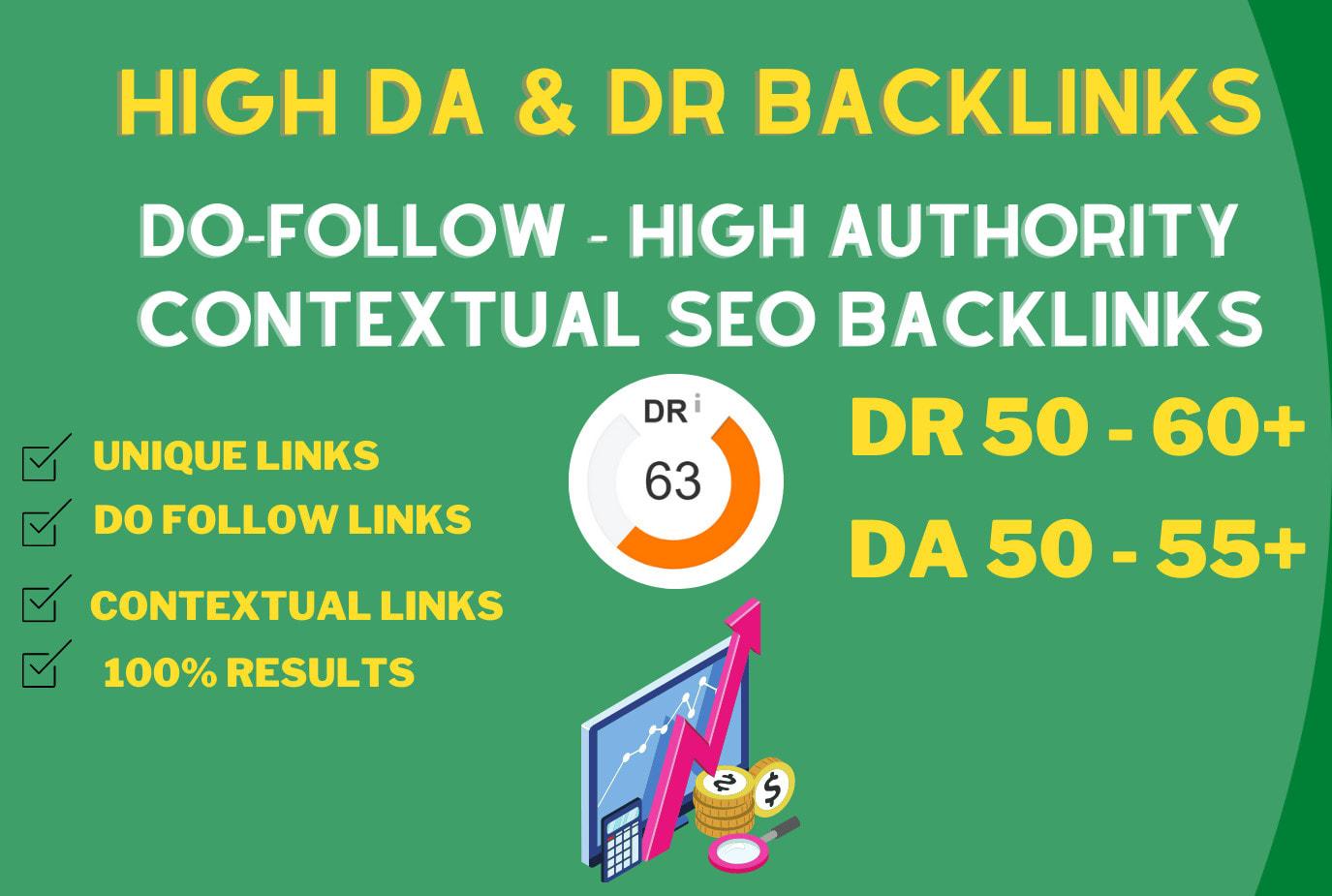 I will create dofollow high DA,  DR contextual SEO backlinks