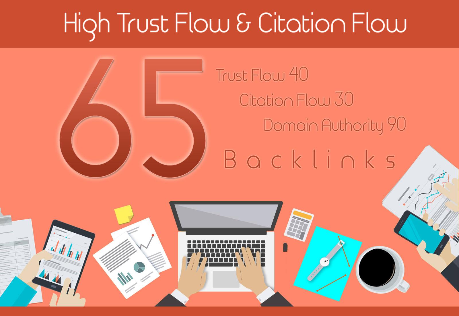 do 65 high TRUST flow and Citation flow dofollow backlinks on high da