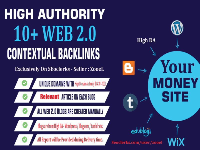 Top Quality 10+ web 2.0 backlinks -To Rank You on Google