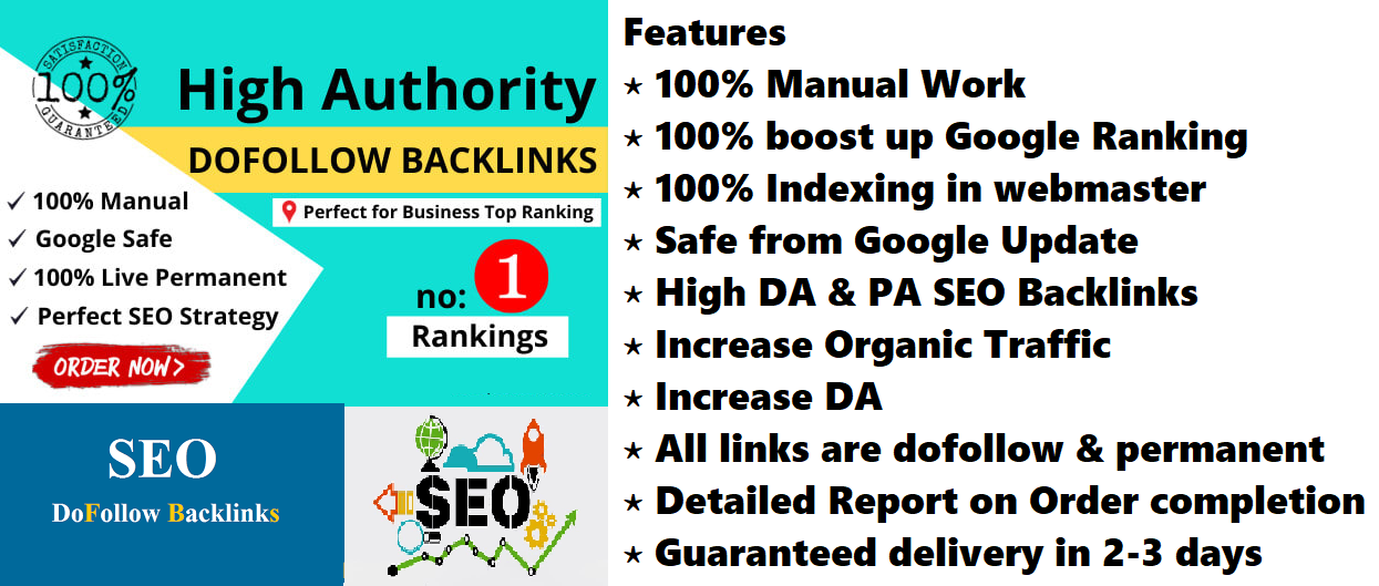 Create 200 Manual high DA Permanent Dofollow Backlinks off page SEO