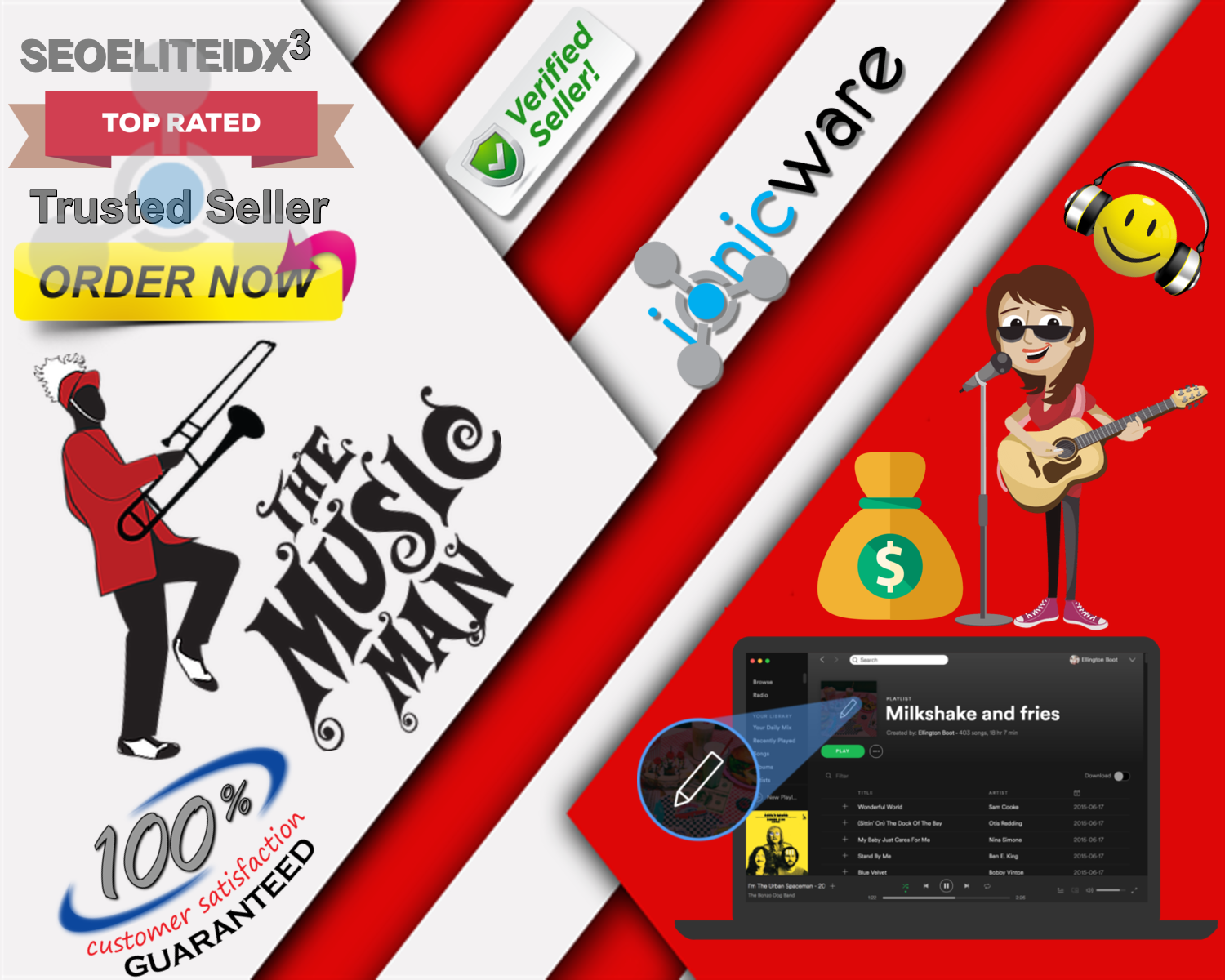 Professional High Quality Great SEO Service 1,000+ Music Playlist Or Artist Profile Followers