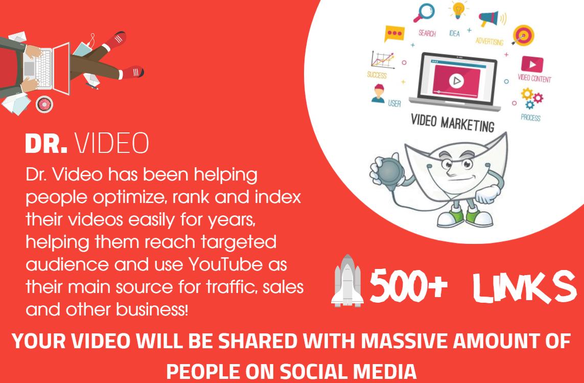Youtube SEO - Get 500 Organically Built Links - Video Embeds, Social Signals, Backlink