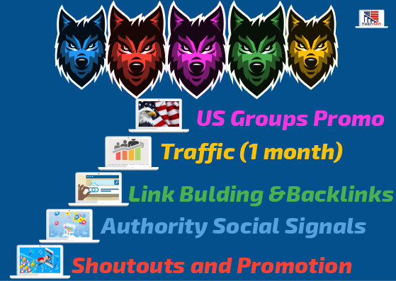 Powerful 5 Levels SEO - 10,000 Social Signals - Backlinks,  US Groups Promotion,  Traffic,  Shoutouts