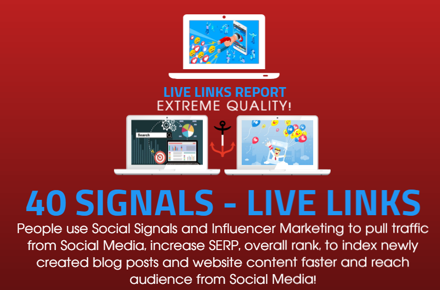 40 Social Signals to BOOST your SEO and TRAFFIC with PROMOTION to 150.000 people on Social Media