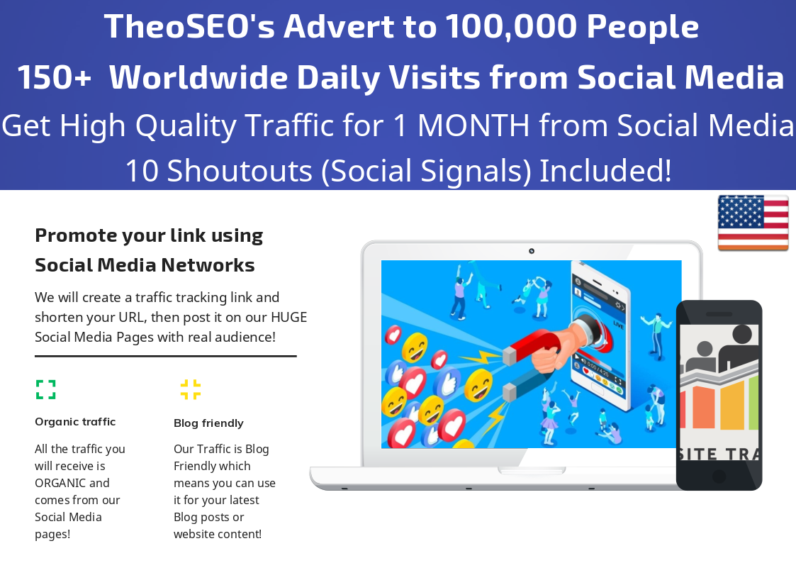 Get 1 Month Traffic with 150+ Daily Visits from Social Media and 10 Shoutout Social Signals