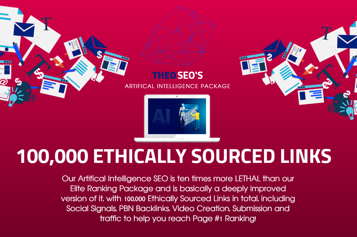 Artifical Intelligence SEO - 100,000 Ethically Sourced Links,  Social Signals,  Video - PBN Boost