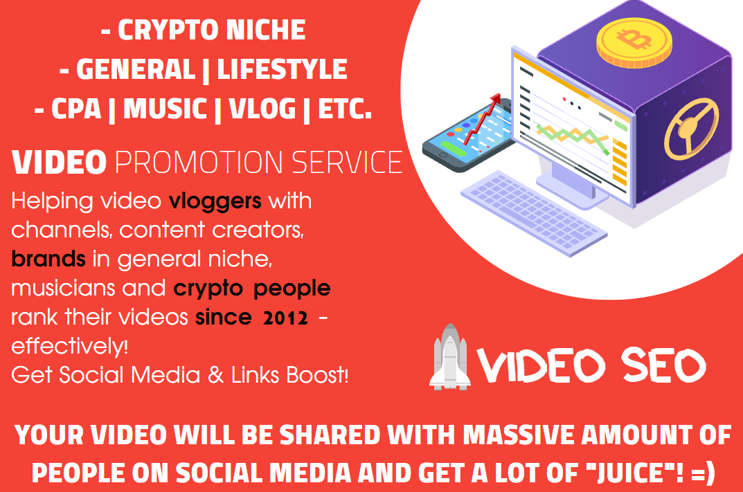 Youtube SEO for Crypto Videos or Music and General Niches - Video Embeds,  Social Signals,  Backlinks