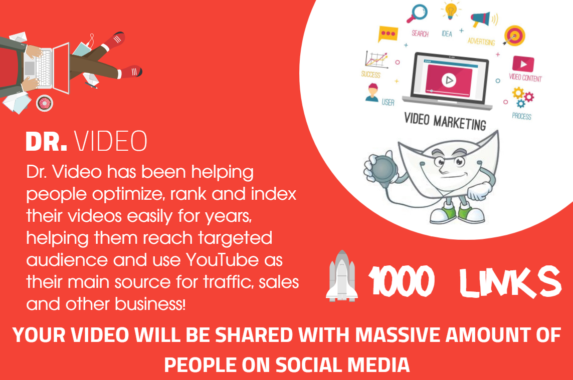 Youtube SEO - Get 1000 Organically Built Links - Video Embeds,  Social Signals and Backlinks