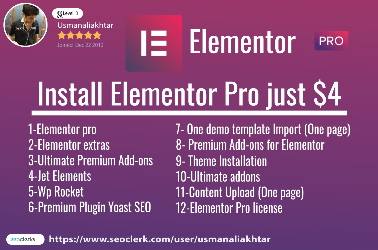 Install The Elementor Pro Page Builder, Plugging, Lifetime Update license  for $4
