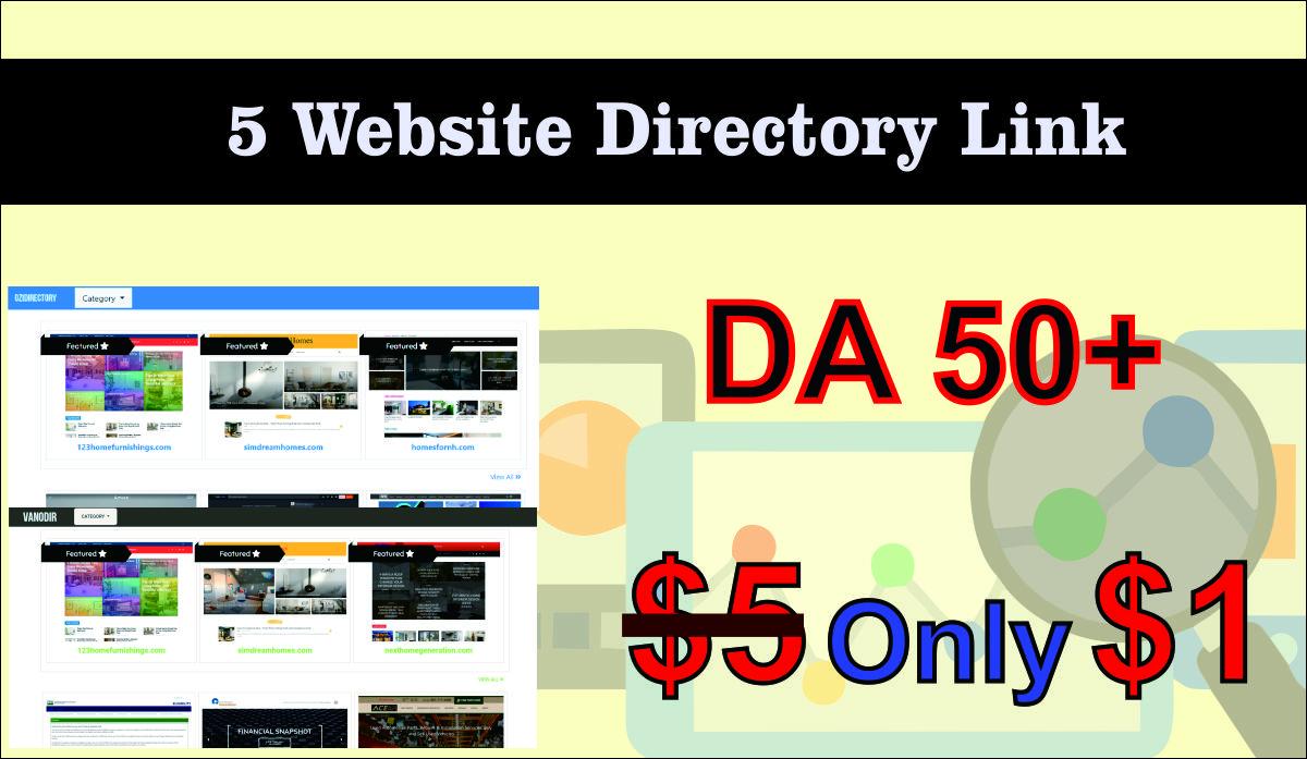 LIMITED OFFER 5 Do Follow Website Directory Backlink DA 50+