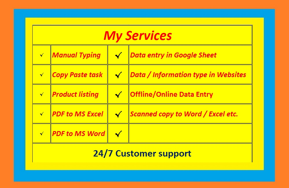 Data Entry,  Typing,  Copy and Paste works offered by abulhossain55