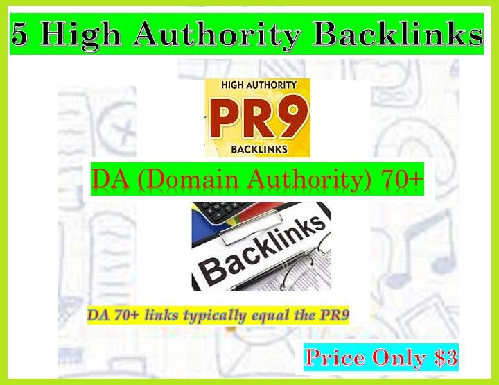 Provide 5 PR9 - DA Domain Authority 70+ Backlinks for Your websites