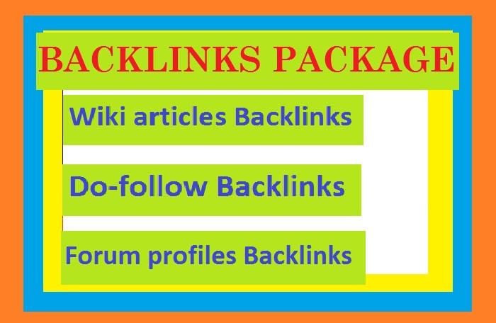 Manage 100 Do-follow Backlinks + 100 Forum profiles Backlinks + 100 Wiki articles Backlinks
