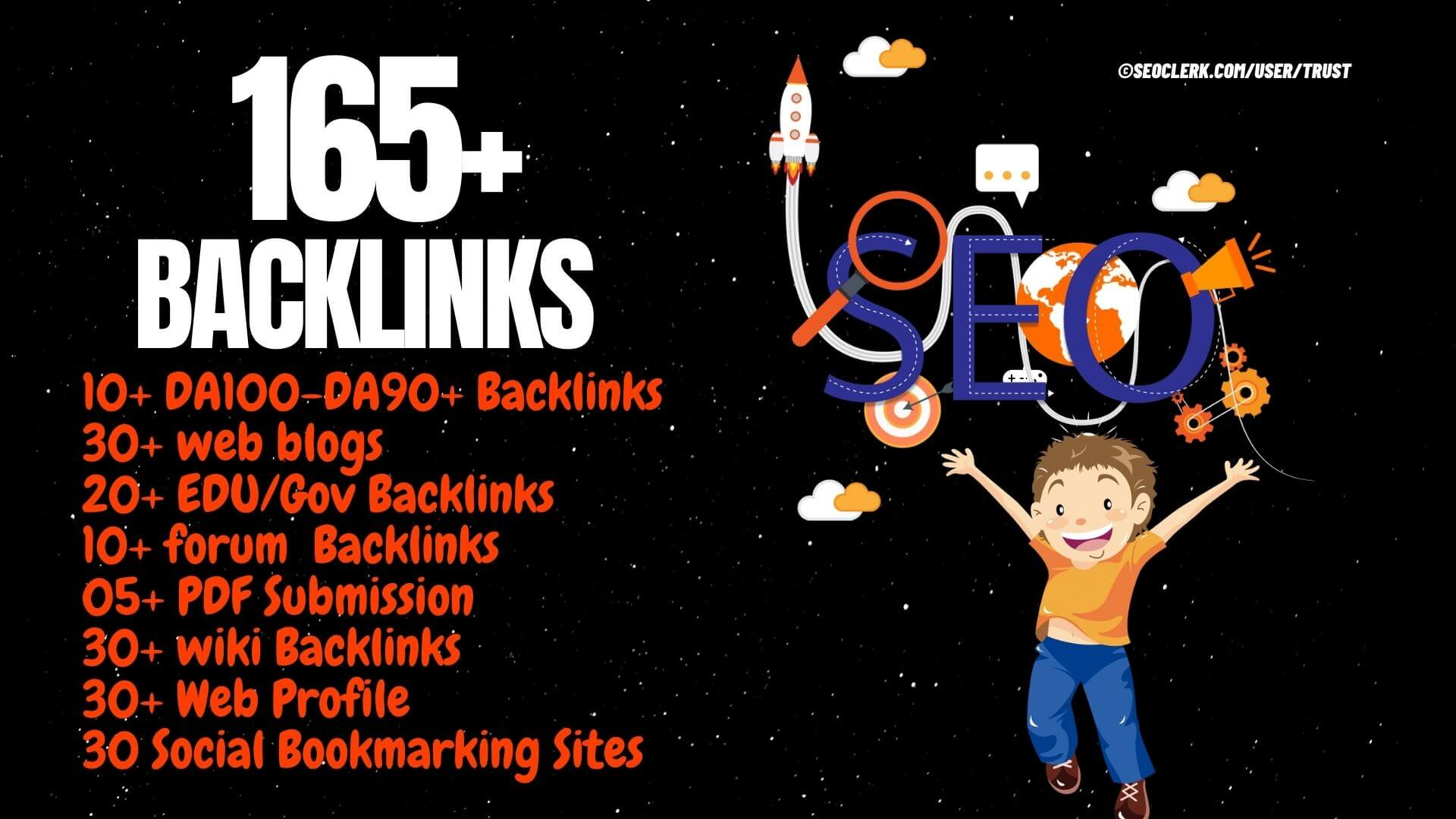 165 Backlinks from DA90+ PR9, 60 Web 2.0 , 20 Edu/Gov, 30 Wiki, 30 Web, 30 Sbookmar & 10 Forum
