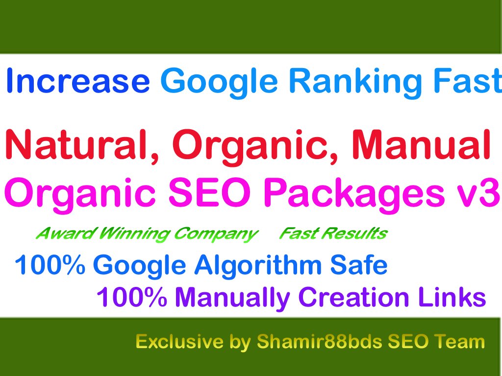 Organic SEO Packages v3 to Increase Google Ranking Fast