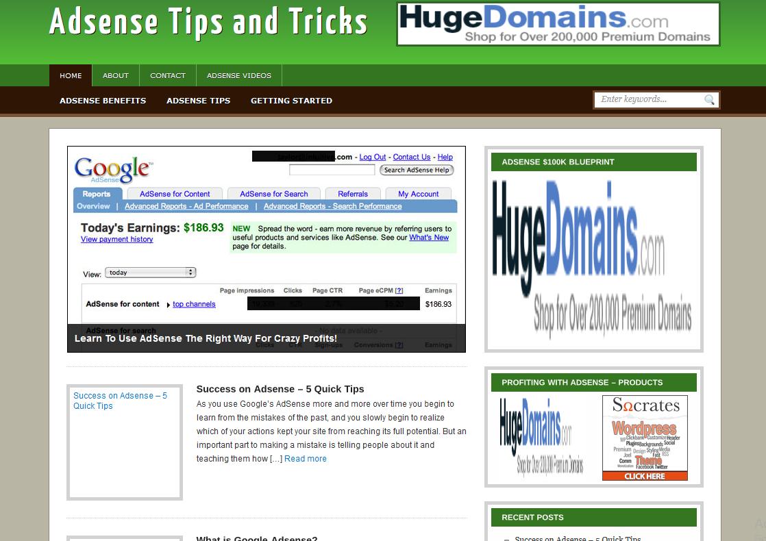 Adsense Tips and Tricks Wordpress Website