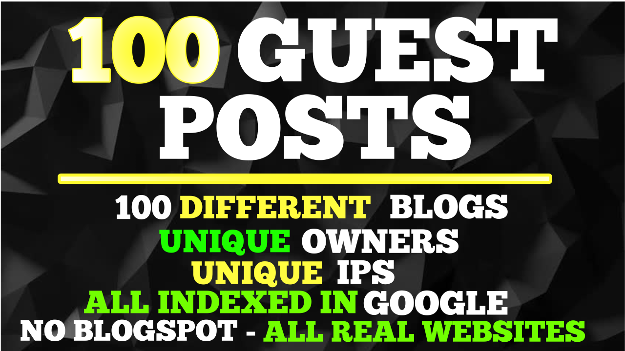 100 Guest Posts WIth 300 HQ Backlinks On 100 Unique Domains