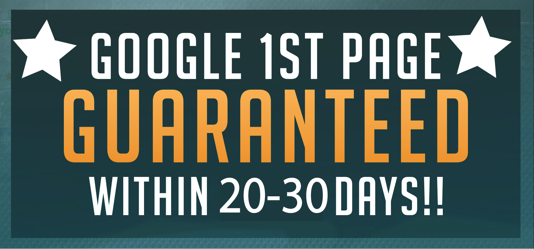 Do Google 1st Page Rank GUARANTEED Within 20-30 days