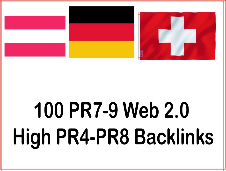 Get you 100 high PR4-PR8 Web 2.0 German,  Austria,  Switzerland Backlinks
