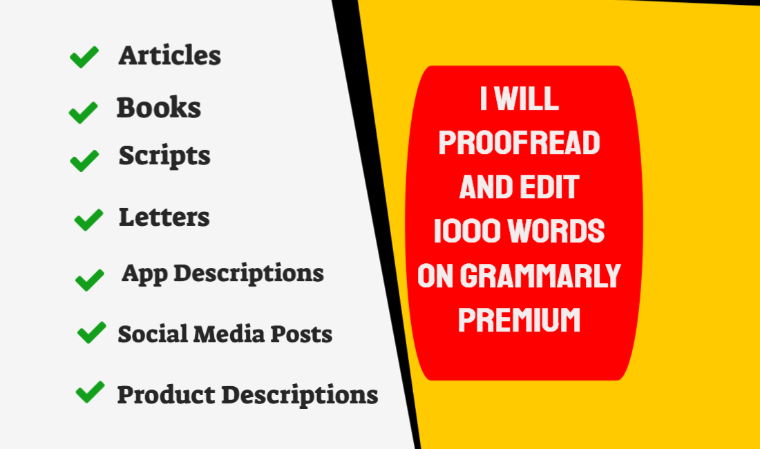 Proofread and edit 1000 words using Grammarly Premium