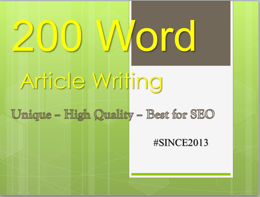 200 Words Article Writing - Best Seller