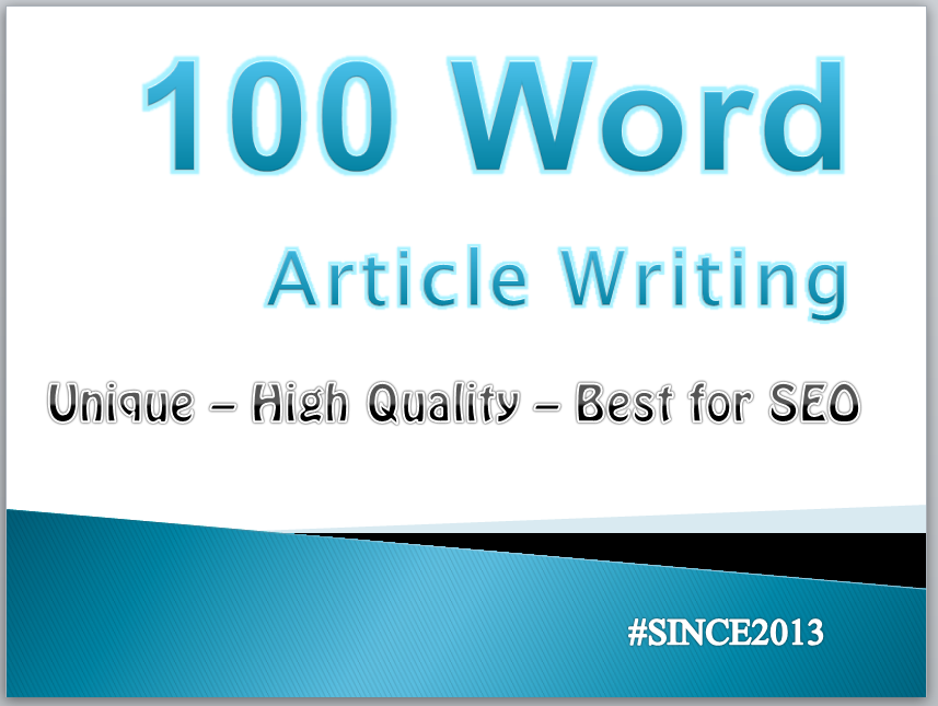 100 Words Article Writing - Starting Order