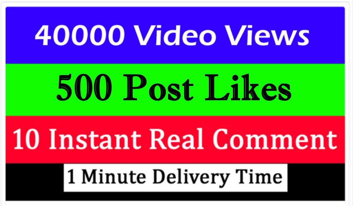 40000+ video views or 500+ Likes or 10 comments Social media promotion 1 min. delivery