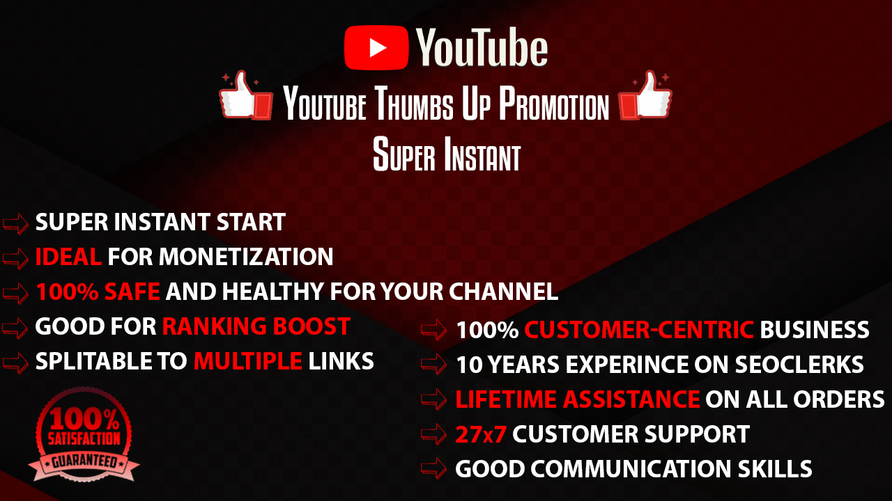 Real YT Thumbs-Up Promotion PROMOTIONAL OFFER CHEAPEST 1-6 hr delivery