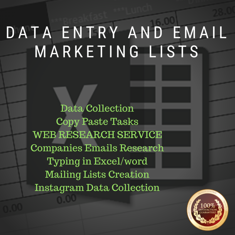 DATA ENTRY AND EMAIL MARKETING LISTS