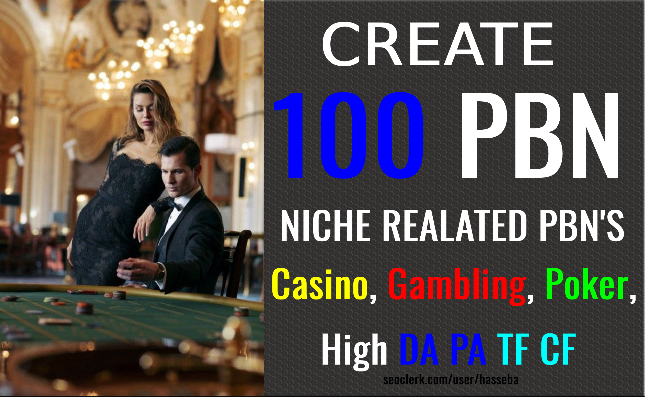 Create 100 PBN Niche related pbns casino,  Gambling,  Poker,  Judi High DA PA Dofollow Backlinks