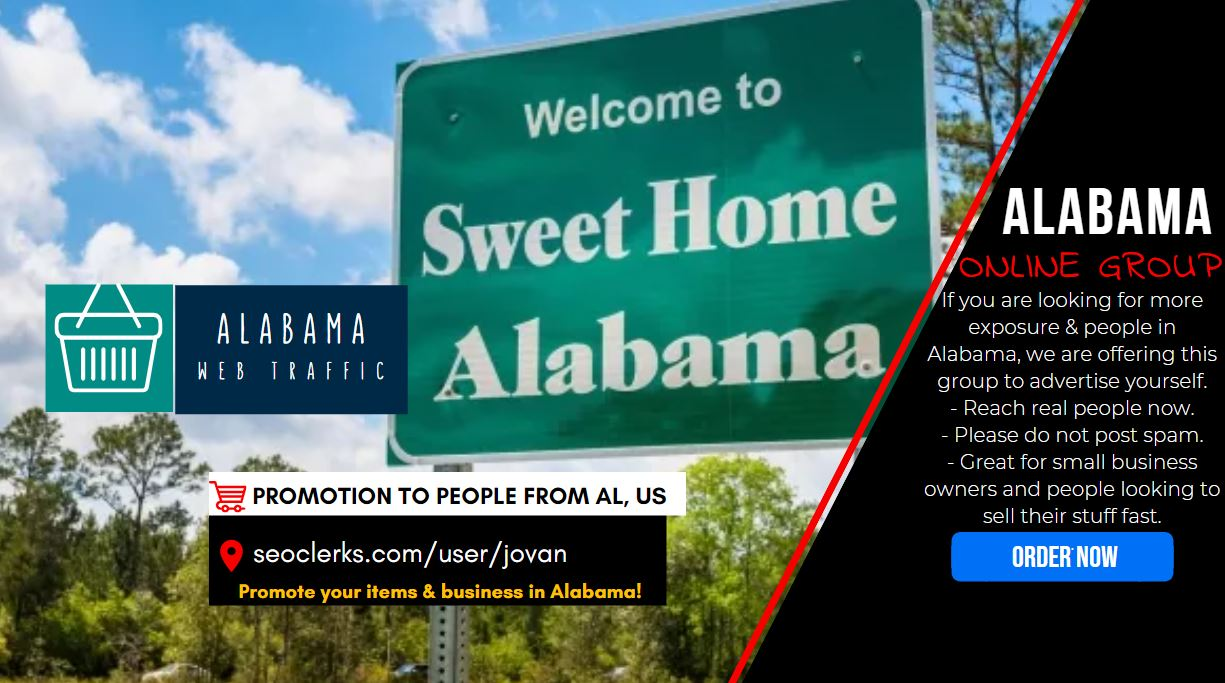 Web Traffic from Alabama US - Shoutout Promotion to 6500 AL People with Social Signal