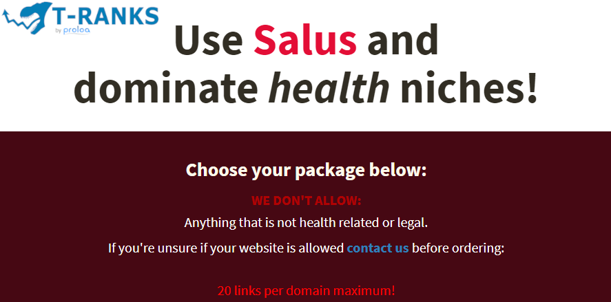 20 Links from Salus PBN To Dominate Health Niches