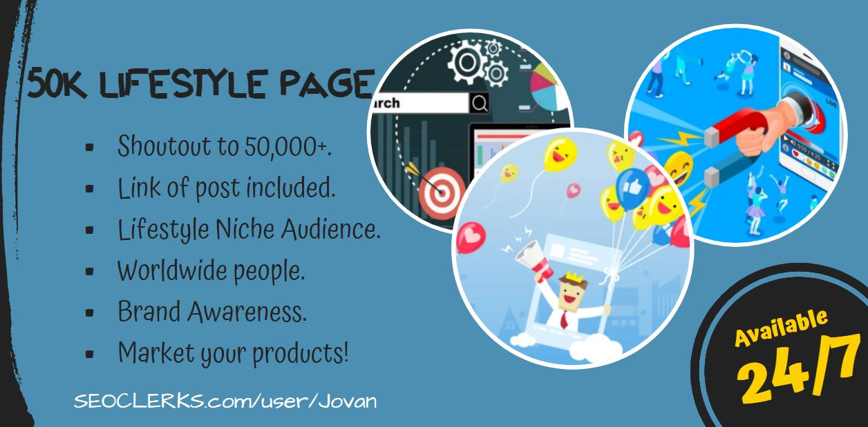 Promote with shoutout to 50K Lifestyle Page audience