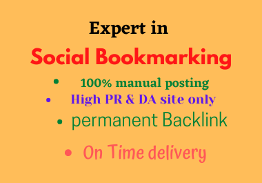 I will do 50 Bookmarking on High DA site Manually