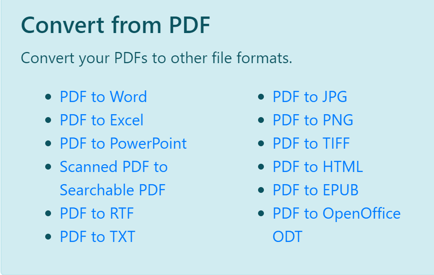 Convert your PDF to other file formats,  Convert your files to PDF files.