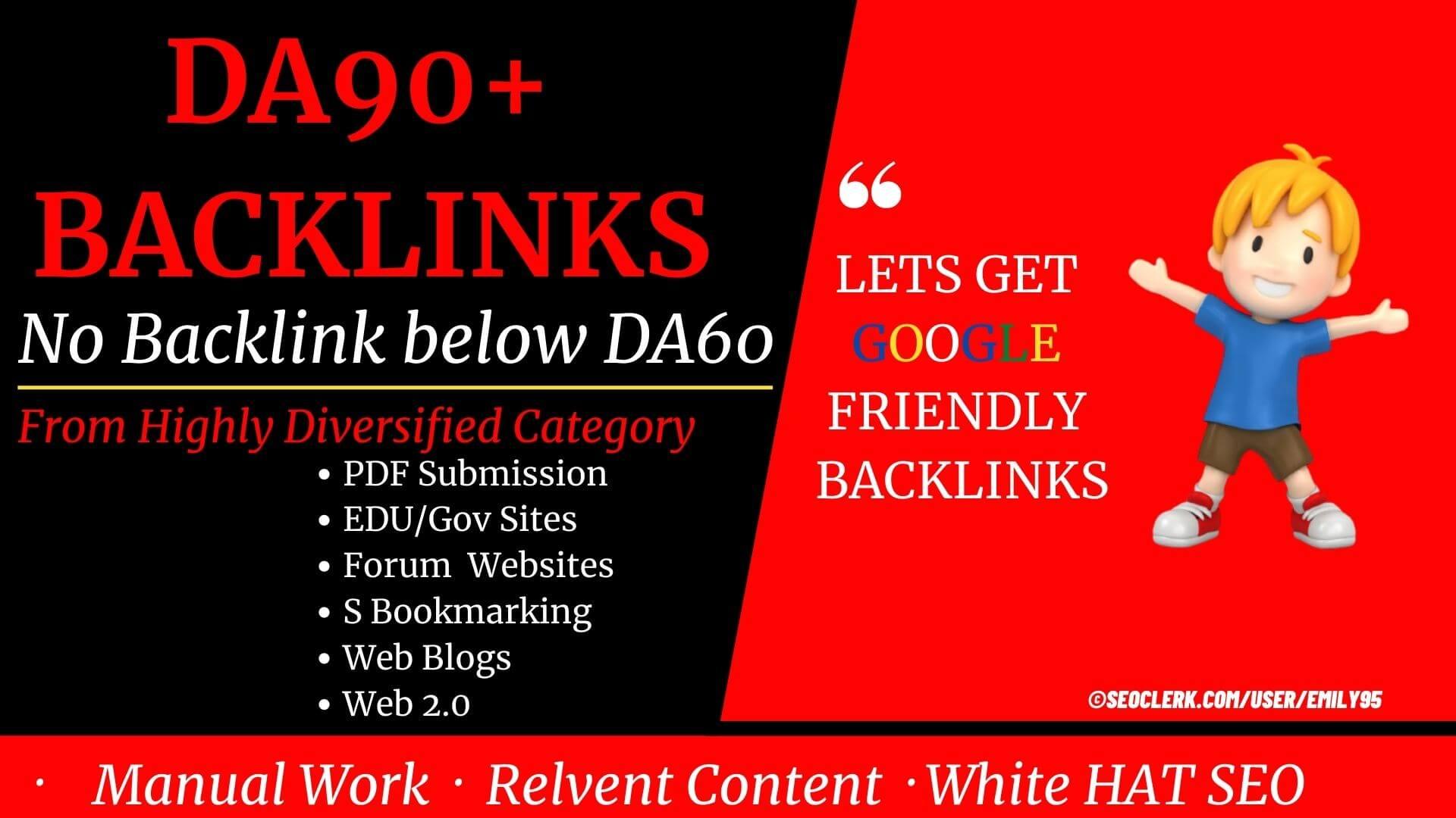 Only DA100 - DA60+ Backlinks 53+ High Quality Backlinks from High DA PA TF CF sites