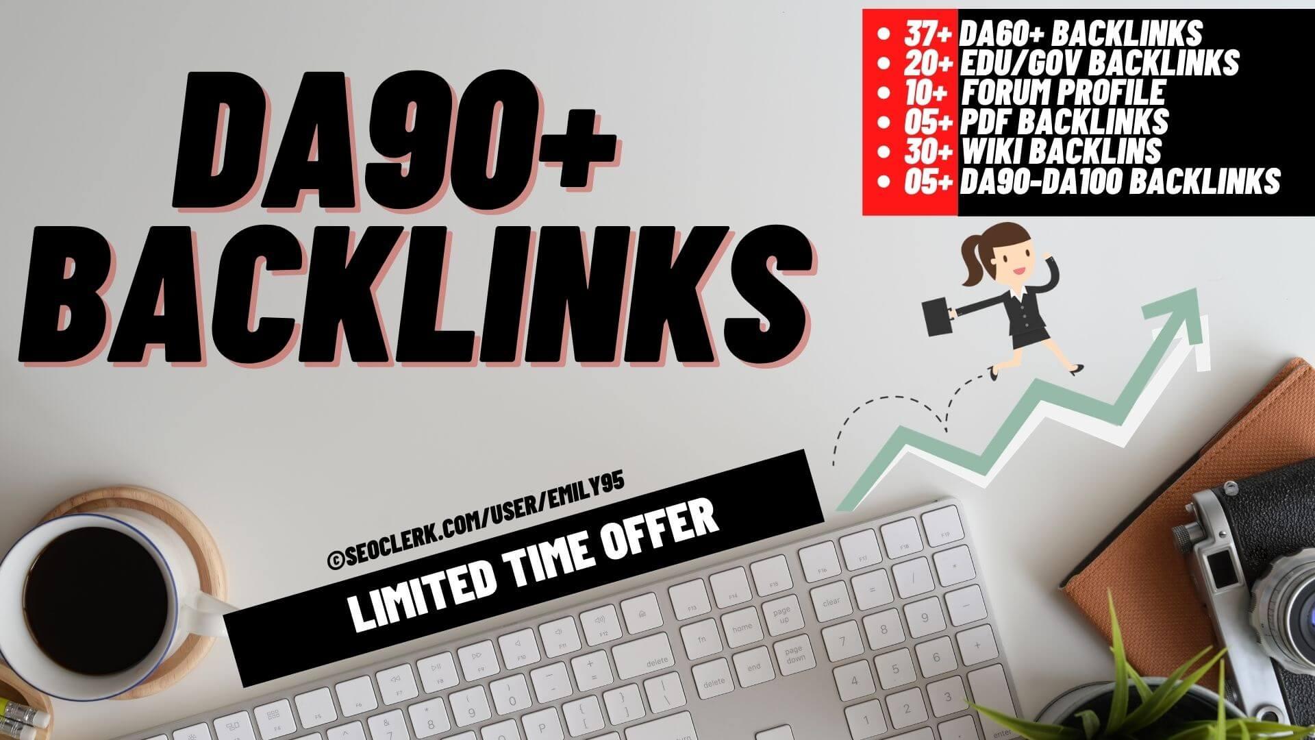 DA90+ Backlinks - 30 Wiki,  20 Edu/Gov,  10 Forum Sites,  05 PDF,  37 DA60+ and 05 from DA90+