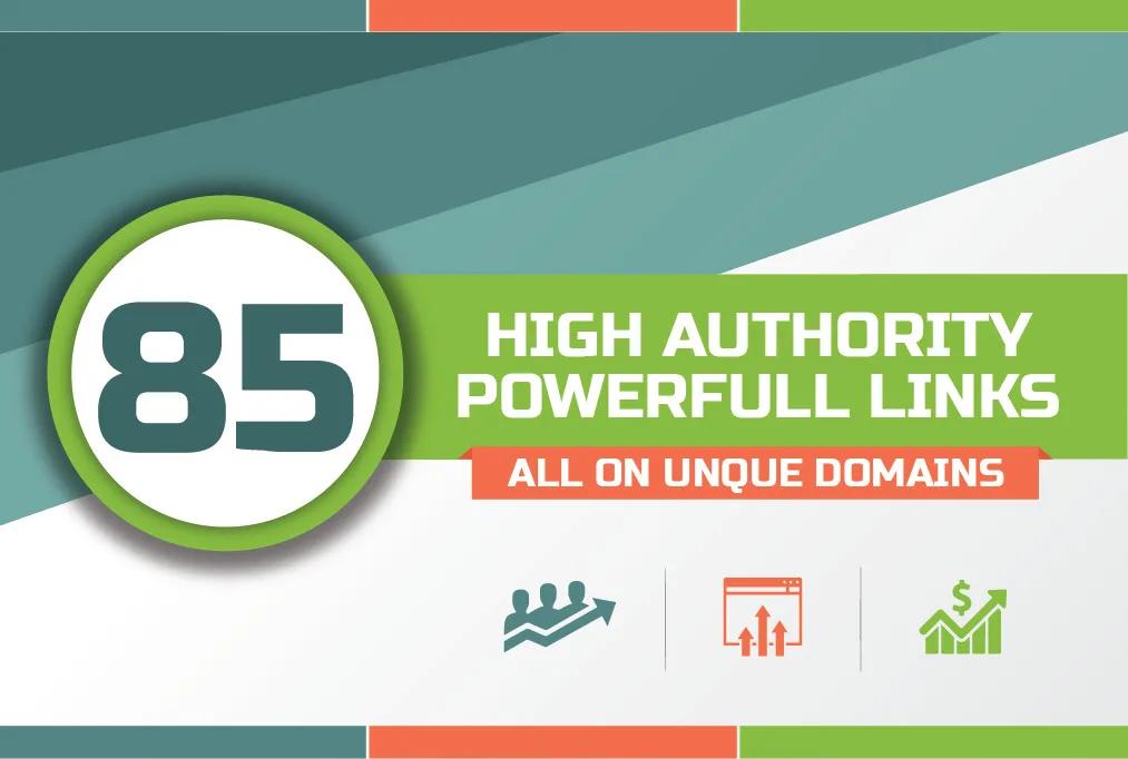 Manually Build 85 unique domain SEO backlinks on tf100 da100 sites