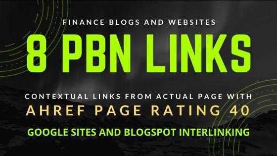 8 High Quality PBN Links - Finance Blogs